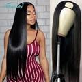 U часть парик прямые волосы машина человеческих волос парик для женщин 1x3 2x4 U часть предварительно собранные человеческие волосы 150 Remy брази...
