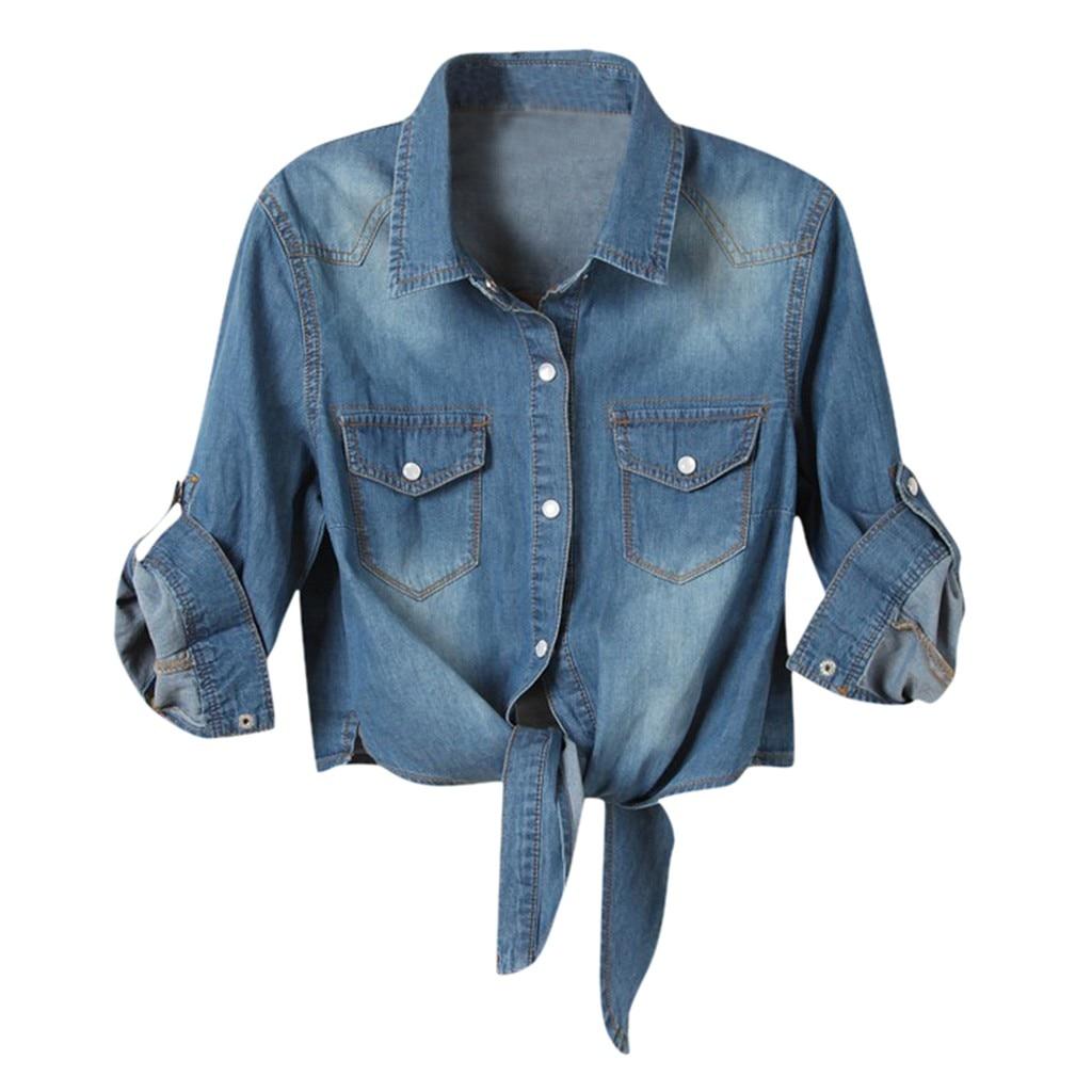 Women Denim Jeans Jacket Half Sleeve Pockets Tops Coat Button Short Jacket Long Sleeve Casual Outerwear Overcoat Autumn Winter