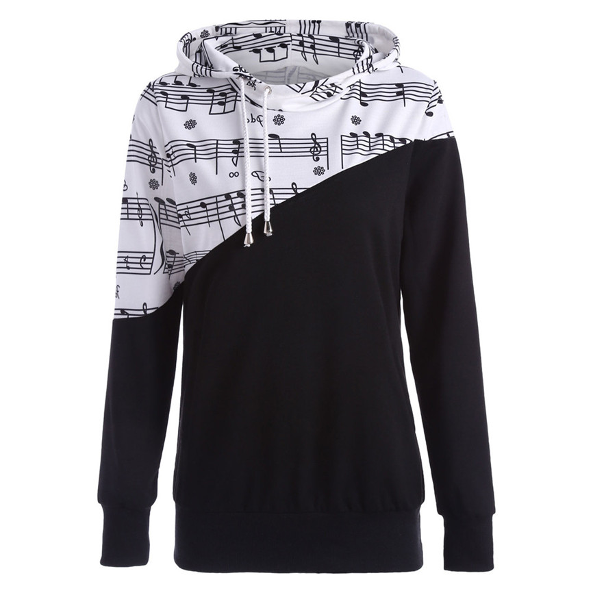 Women Musical Note Print Patchwork Splice Hooded Harajuku Pullover Sweatshirt Tops Spring Fall Clothes