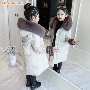 2020 Fashion Children Winter down cotton Jacket Girl clothing Kids clothes Warm Thick parka Fur Collar Hooded long Coats 3-14Y brand baby infant girls fur winter warm coat 2018 cloak jacket thick warm clothes baby girl cute hooded long sleeve coats jacket