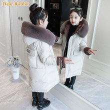 2020 moda çocuk kış aşağı pamuklu ceket kız giyim çocuk giysileri sıcak kalın parka kürk yaka kapşonlu uzun palto 3 14Y