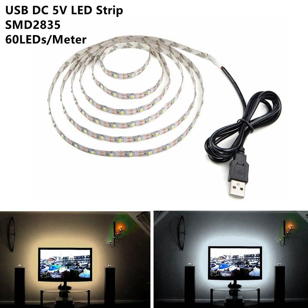 50CM 1M 2M 3M 4M 5M USB Cable DC5V Power LED Strip Light Lamp SMD 2835 Christmas Desk Decor Lamp Tape For TV Background Lighting