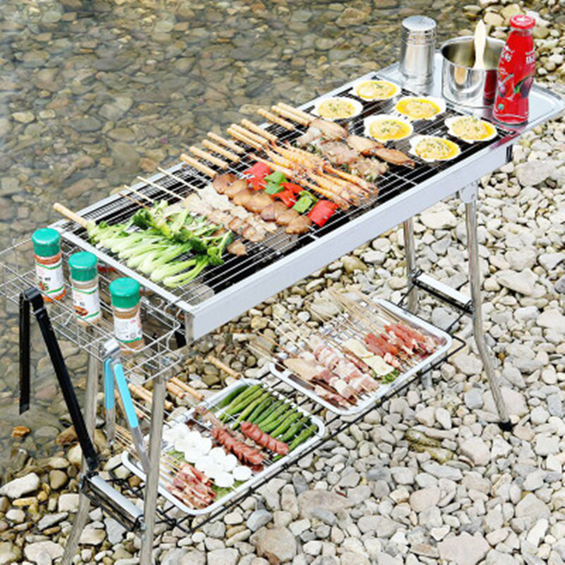 Smokeless Outdoor Grill BBQ Folding Stainless-Steel Thickening Portable