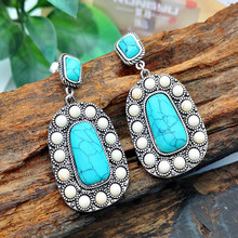 Fashion Ethnic Boho Brown Water Drop Stone Earring for Women Party Jewelry Exquisite Leather Flower Pattern Dangle Earrings 50