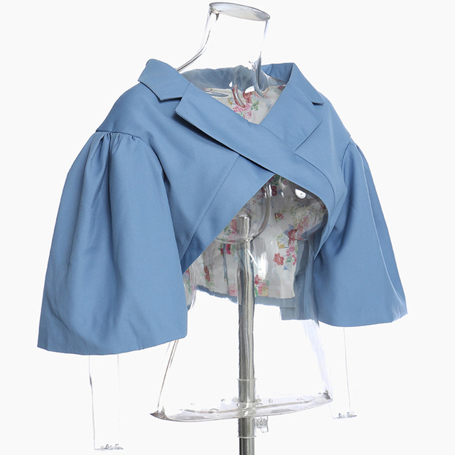 [EAM] Loose Fit Pattern Printed Irregular Short Jacket New V-collar Short Sleeve Women Coat Fashion Spring Autumn 2021 1Y7180 2
