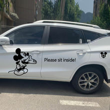 Mickey Mouse stickers black and white stickers creative car stickers Custom Text Sticker automobile sticker(China)