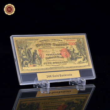 Billete de oro de calidad WR 1875 años $5 dólares estadounidenses billete de dinero nacional detalles bonitos + Marco de exhibición de regalos gratis