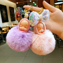 Cute sleeping doll key chain Women fur ball keychains bag car key ring Blingbling Bow pendant gift Pompom
