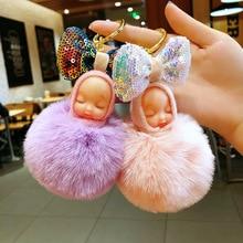 Cute sleeping doll key chain Women fur ball keychains bag car key ring Blingbling Bow pendant gift Pompom