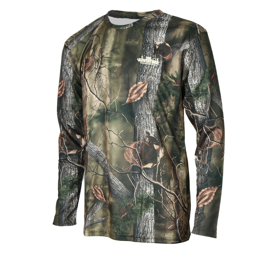 Long Sleeve T-Shirt Camouflage Quick-Drying Tops Hunting Fishing Camping T Shirt Hunter Real Tree Jungle Forest Print
