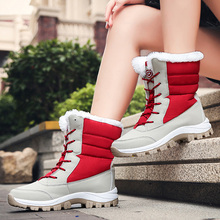 купить Winter Boots Women Warm Shoes 2019 Lace Up Platform Wedges Snow Boots Fur Ladies Plus Size 35-42 Botes Mujer Warm Ankle Boots по цене 1616.56 рублей