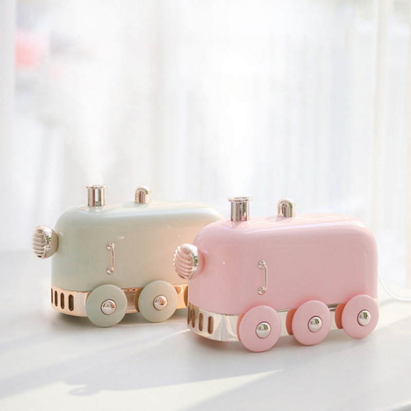300ml Ultrasonic Humidifier Retro Mini Train USB Aroma Air Diffuser Essential Oil Mist Maker Fogger With Color LED Light