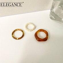Eleganza coreana Vintage 3 pz/lotto anello impostato per le donne acrilico imitazione perla geometrica anelli acido acetico gioielli moda partito