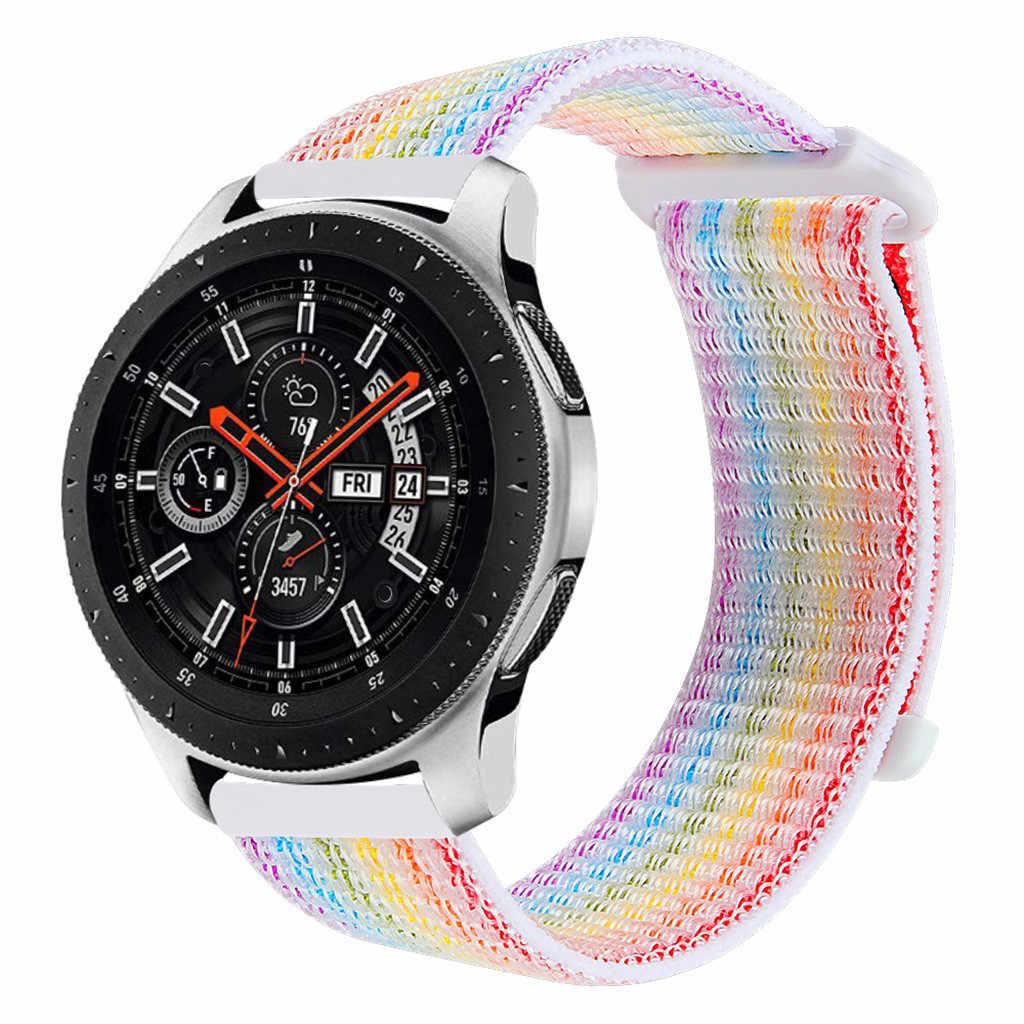 لون النايلون شريط للرسغ لسامسونج غالاكسي ساعة 46 مللي متر حزام استبدال سوار ساعة ذكية الرياضة حلقة النساء الرجال سوار جديد 19Oct