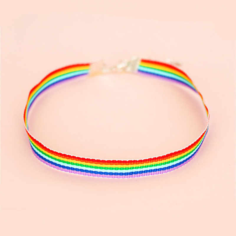 Men Women Gay Pride Rainbow Choker Necklace LGBT Gay And Lesbian Pride Lace Chocker Color Ribbon Collar Punk Party Jewelry Gift
