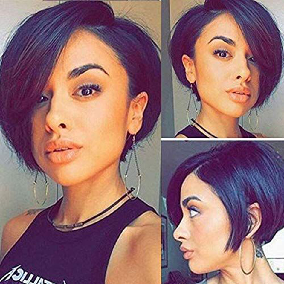 Pixie Cut Wig Machine Made Short Wig Straight Hair Wig Brazilian Remy Cheap Human Hair Wigs For Black Women Free To Brazil