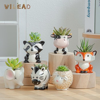 VILEAD 6 Styles Ceramic Animal Flower Pot Cute Cartoon Zebra Cow Sheep Mini Succulent Plant Vase Decoration Home