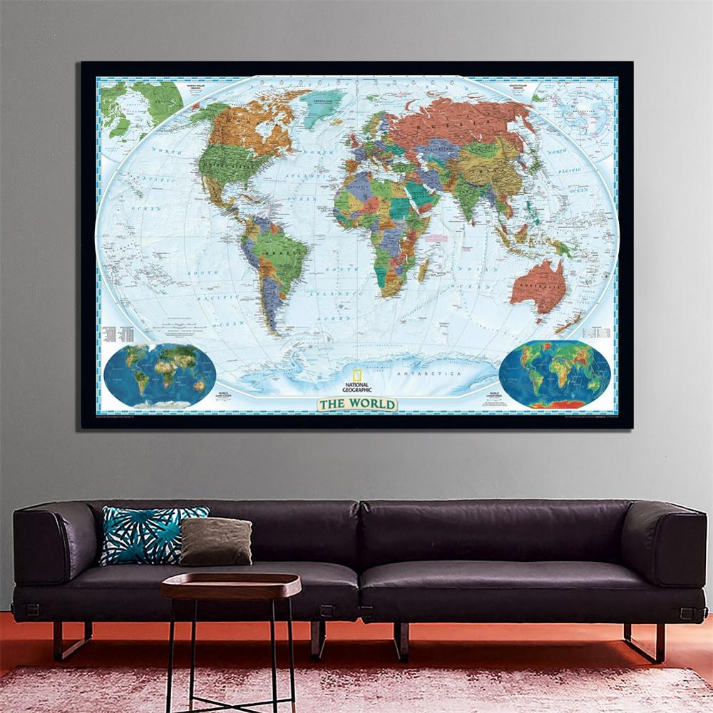 60x90cm The World Physical Map 2011 Edition HD World Map With Land Forms And Land Cover Map Fine Canvas Painting For Wall Decor