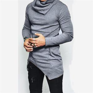 Sportswear Men Hoodies Tops Basketball-Jerseys Pocket Turtleneck Hem Long-Sleeve Unbalance