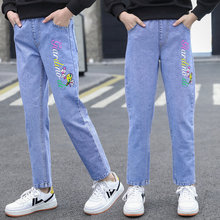 Jeans For Teen Girls New Arrivals Cartoon Pattern Cotton Teenager Slim Pencil Pants 2021 Fashion Children High Quality Trousers
