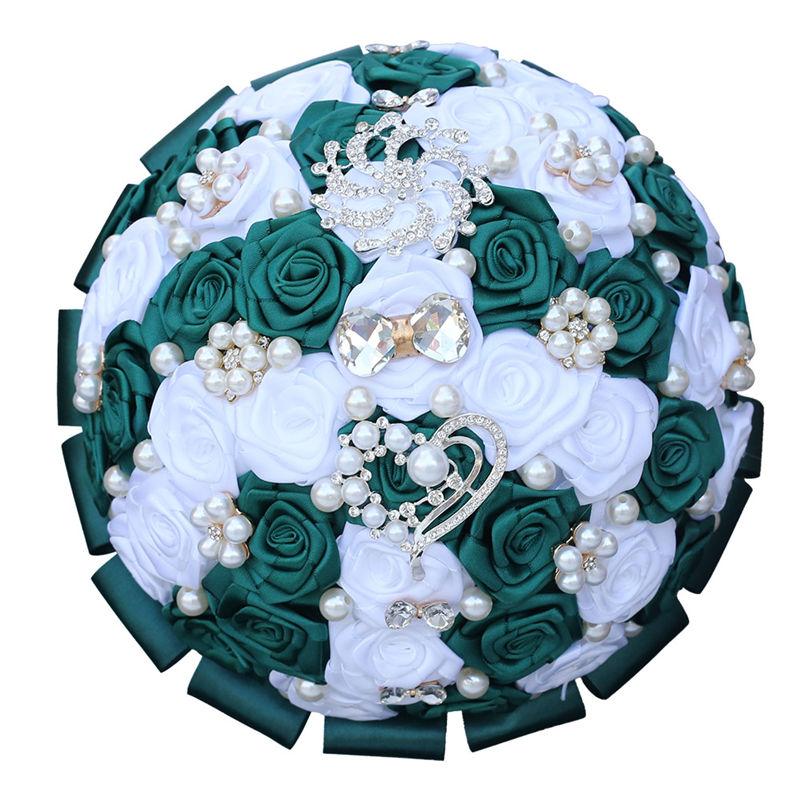 Wedding Bouquet Gold Crystal Silk Rose Pearl Diamond Beads Brooch Bridal Bouquet