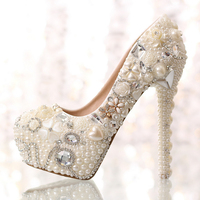 Pearl Rhinestone Women's Wedding Shoes Waterproof White Bridal Crystal Shoes Banquet Adult Gifts High High Heel Women's Shoes