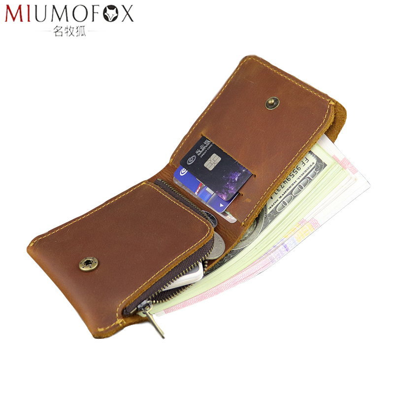 100% Genuine Crazy Horse Leather Men Wallet Slim Short Coin Purse Walet Male Small Billfold With Zip Coin Pocket Vintage Newest