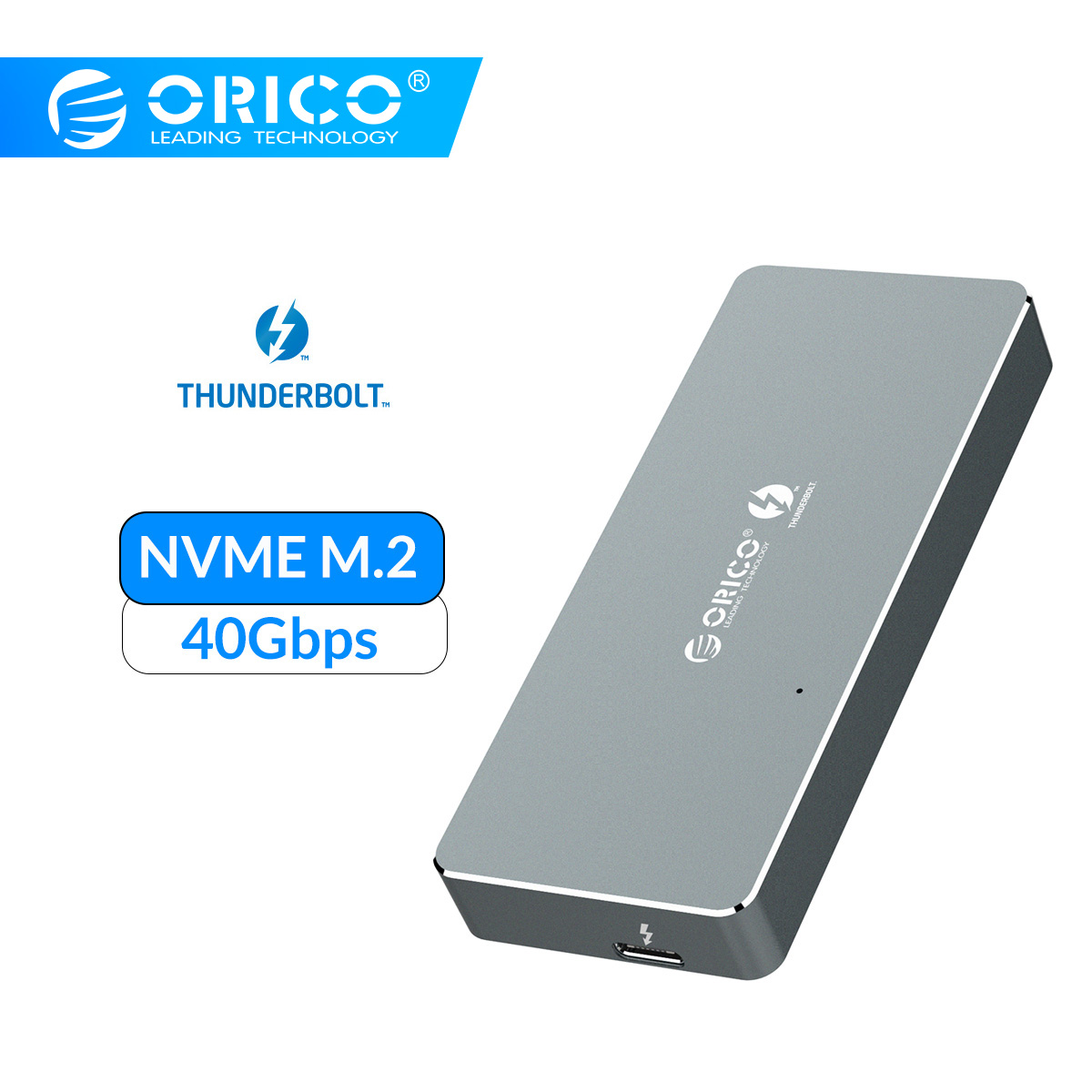 ORICO Thunderbolt 3 NVME M.2 SSD вспомогательное устройство 2 ТБ алюминиевый тип-c с 40 Гбит/с Thunderbolt 3 C к C кабель для окна Mac