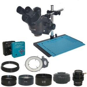 Image 1 - 3.5X 90X simull focal Trinocular mikroskop Stereo 38MP 2K HDMI USB kamera wideo mikroskop lutowania PCB telefon naprawa biżuterii