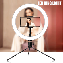 Selfie Mobile Phone with Tripod LED Ring Light Photo Studio Camera Photography Dimmable Stand