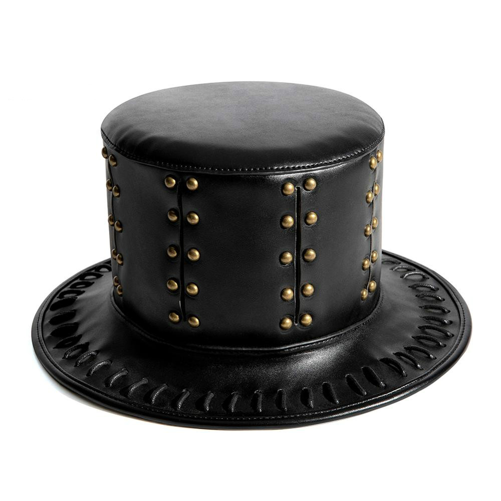 Unisex Adult Black Riveted PU Leather Hat Halloween Plague Cosplay Steampunk Flat Hat Gothic Costume Anime Travel Accessories H4
