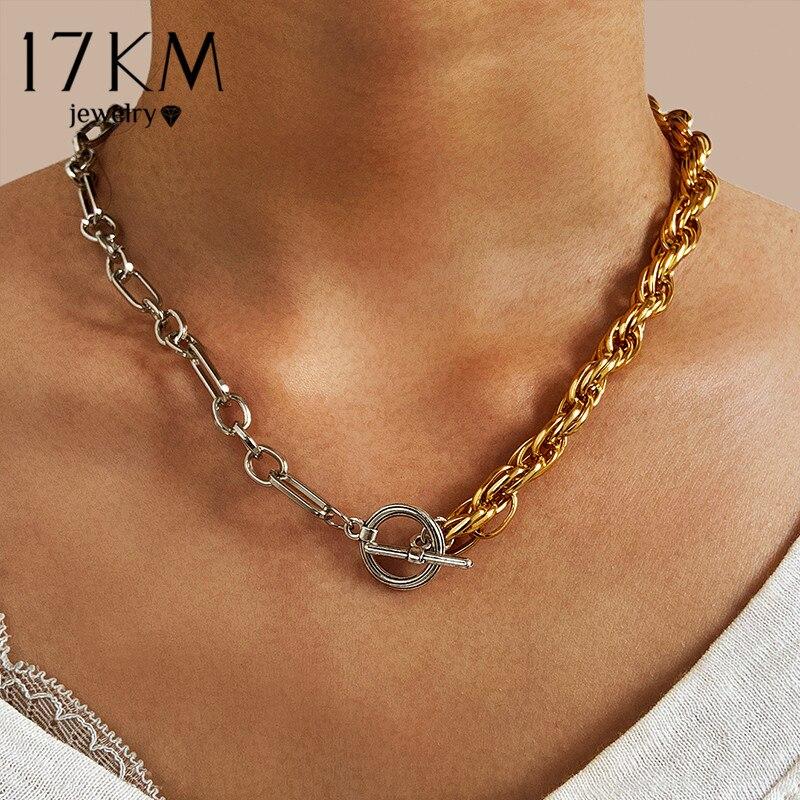 17KM moda asimmetrica collana di blocco per le donne Twist oro argento colore grosso blocco spesso girocollo catena collane gioielli per feste 2