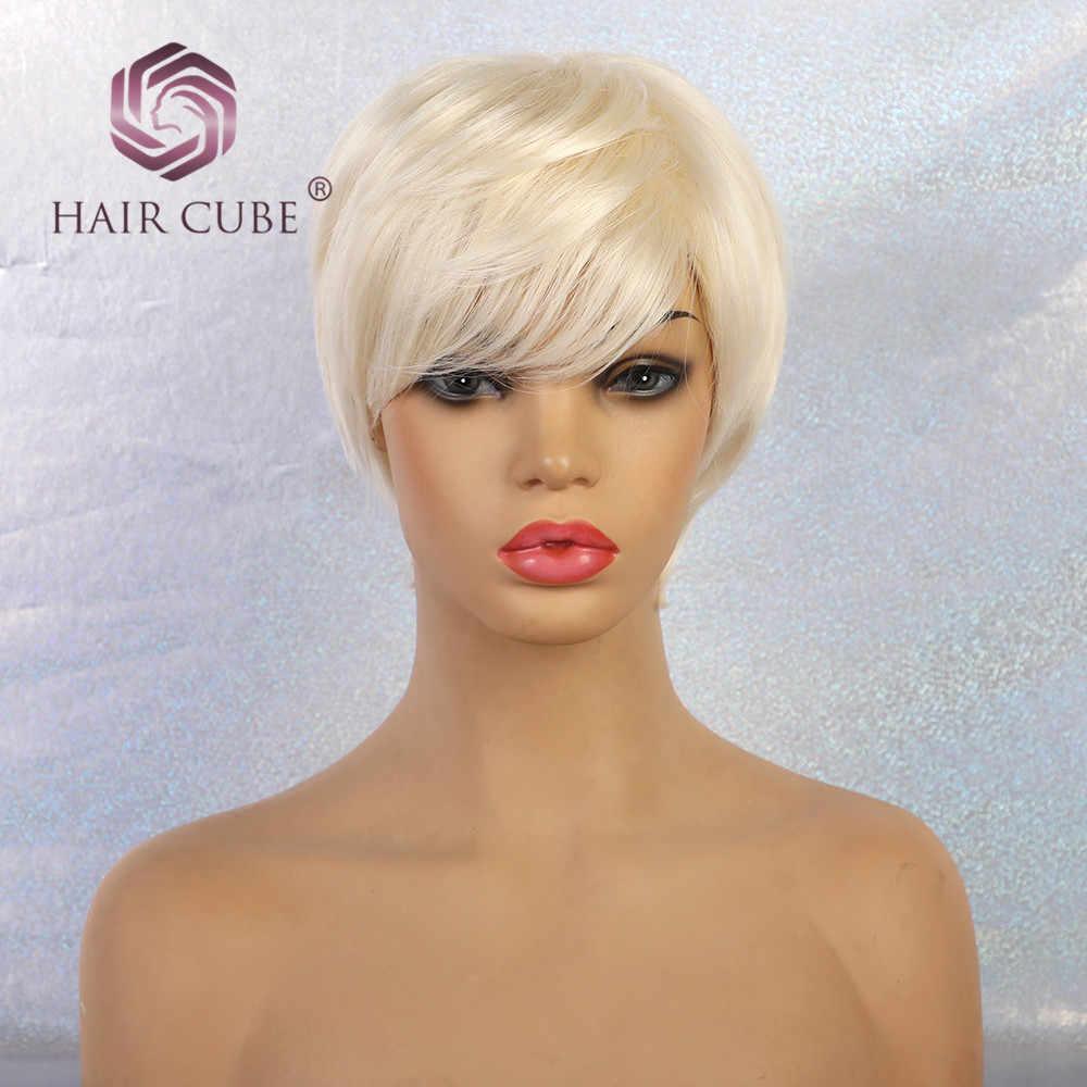 """Haircube peruki syntetyczne 6 """"krótki biały prosto kobiet mieszanka 50% ludzki włos fryzura Pixie peruka z grzywką 12 kolory Mono Top"""