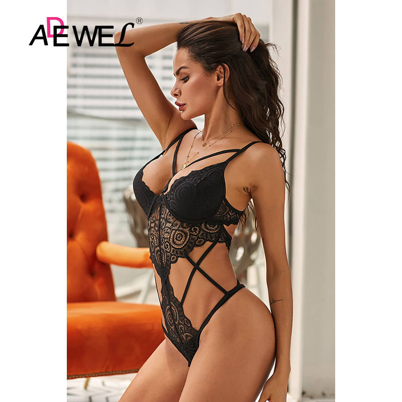 H69590ee6f3de40c5a9b19a0a5a14b09c0 - ADEWEL Sexy Black Royce Push Up Women Leotard Bodysuit Lace Cross Strap Kadın Mayo Body Suit Costume De Bain Femme 1 Piece