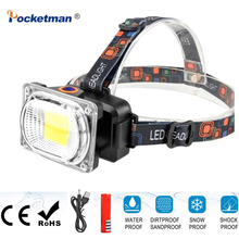 Free ship DC charging COB LED headlamp led headlight adjustable head torch power by 1*18650 battery for camping