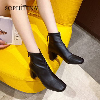 Ankle Boots Women Elegant Casual Zipper Lady Boots Square Toe High Heel Spring Autumn Office Fashion Women Shoes SO864 Apparels Shoes