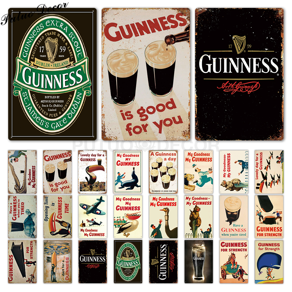 Guinness Vintage Metal Signs Tin Sign Plaque Metal Vintage Pub Metal Plate Wall Decor for Bar Pub Club Man Cave Decorative Plate(China)