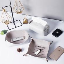 Настольный кожаный из искусственной кожи коробка для хранения макияж Органайзер Comestic контейнер для ювелирных изделий ретро Кнопка Sundry чехол для хранения INS украшения дома