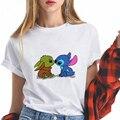 Disney Kawaii Baby Yoda und Stich Cartoon T-shirt Mädchen Beliebte Sommer Kurz Sleve Shirt Süße Stil Frauen T-shirts Übergroßen