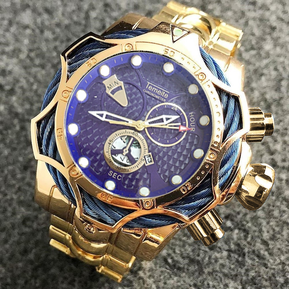 Relogio Masculino Temeite Men's Watches Top Brand Luxury Golden Watch Men Big Dial Quartz Watch Business Waterproof Wristwatches