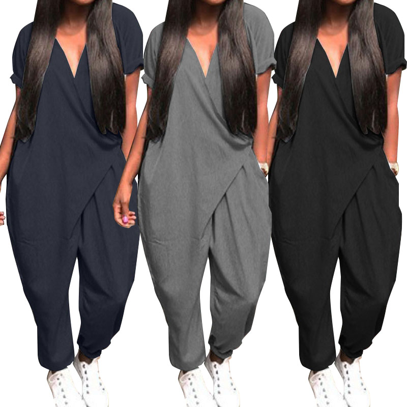 Plus Size Overalls Women's Jumpsuits 2020 ZANZEA Fashion Casual Harem Pants V Neck Button Playsuits Female Short Sleeve Romepers