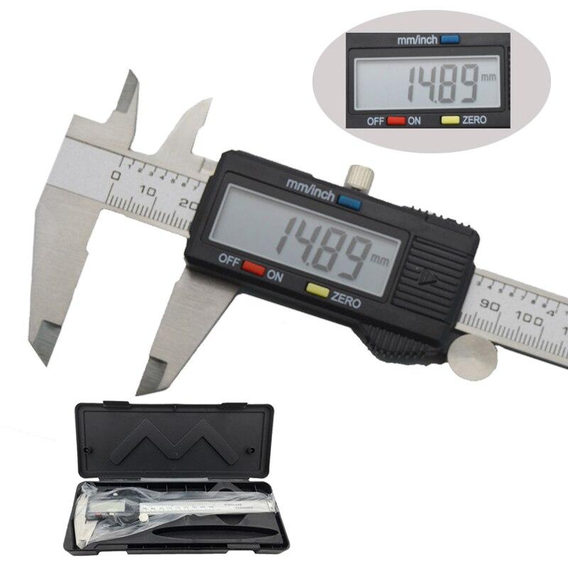 150mm digital eletrônico vernier caliper micrômetro 6 polegadas widescreen display lcd ferramenta de medição de pinça de metal de aço inoxidável