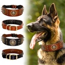 עמיד עור כלב צווארון מגניב ממוסמר המשובץ חיות מחמד קולרים מתכוונן לכלבים בינוניים גדולים Pitbull K9 L XL