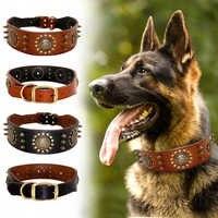 Durable Leder Hund Kragen Kühlen Ährentragende Verzierte Pet Hunde Halsbänder Einstellbar für Medium Large Hunde Pitbull K9 L XL