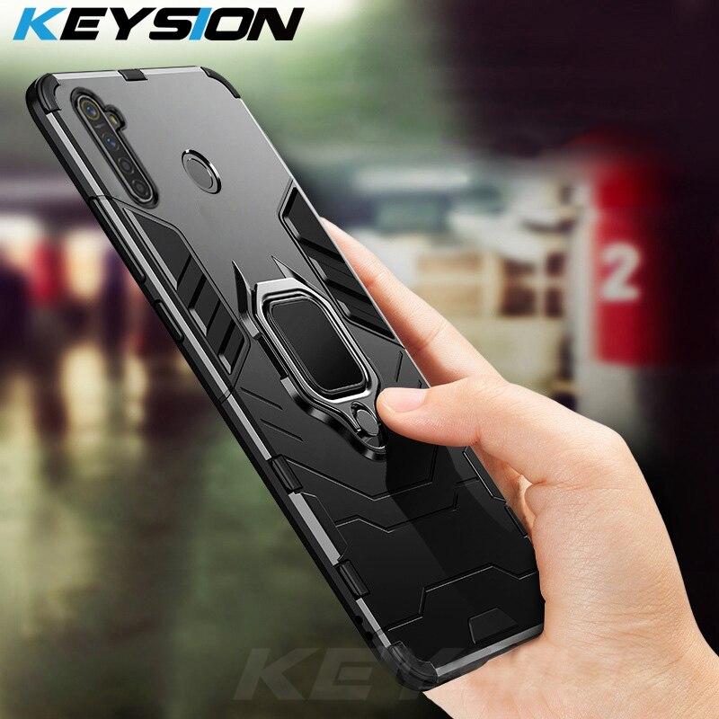 Противоударный армированный чехол KEYSION для OPPO Realme 6i 6 Pro, чехол-бампер с кольцом-подставкой из силикона + задняя крышка для телефона из полика...