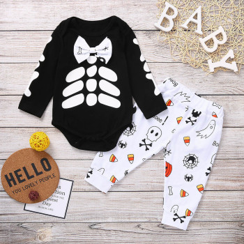 Halloween Set Skull Print Black Romper + Cute Cartoon Pants