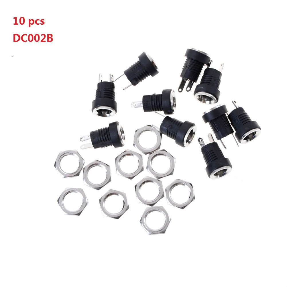 10PCS DC Power Connector Pin 2.1x5.5mm Female Plug Jack + Male Plug Jack Socket Adapter PCB Mount DIY Adapter Connector 2.1X5.5