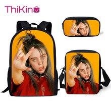 Thikin Billie Eilish Pattern 3Pcs Children Fashion School Bag for Girls Backpack Teen Boys Kids Book Bags