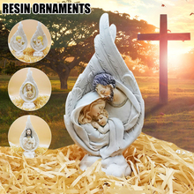 Holy Family Statue Collectible Figurines Handmade Resin Angel Wings Ornament Religious Catholic Gifts for Men Women REME