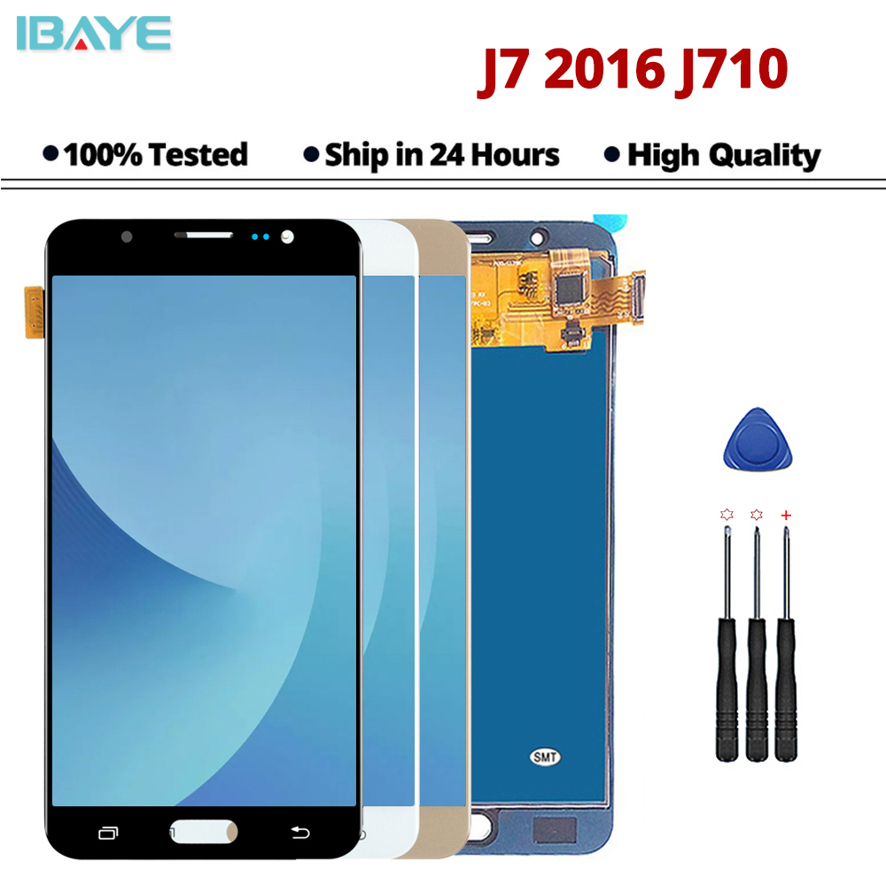 <font><b>LCD</b></font> Für Samsung Galaxy J7 2016 J710FN <font><b>J710F</b></font> J710M J710 <font><b>LCD</b></font> Display Touchscreen Digitizer Helligkeit Einstellbar Montage image